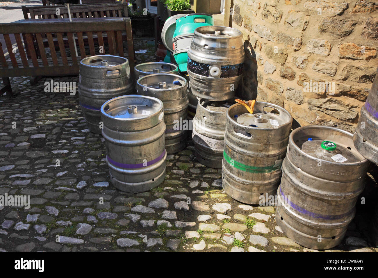 Beer containers outside a pub, England, UK - Stock Image