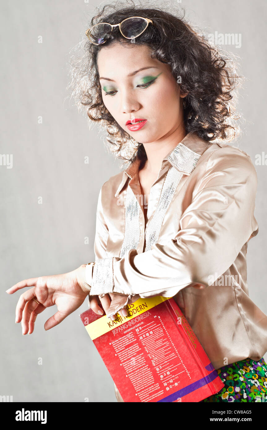 Girl with curly hair Asian