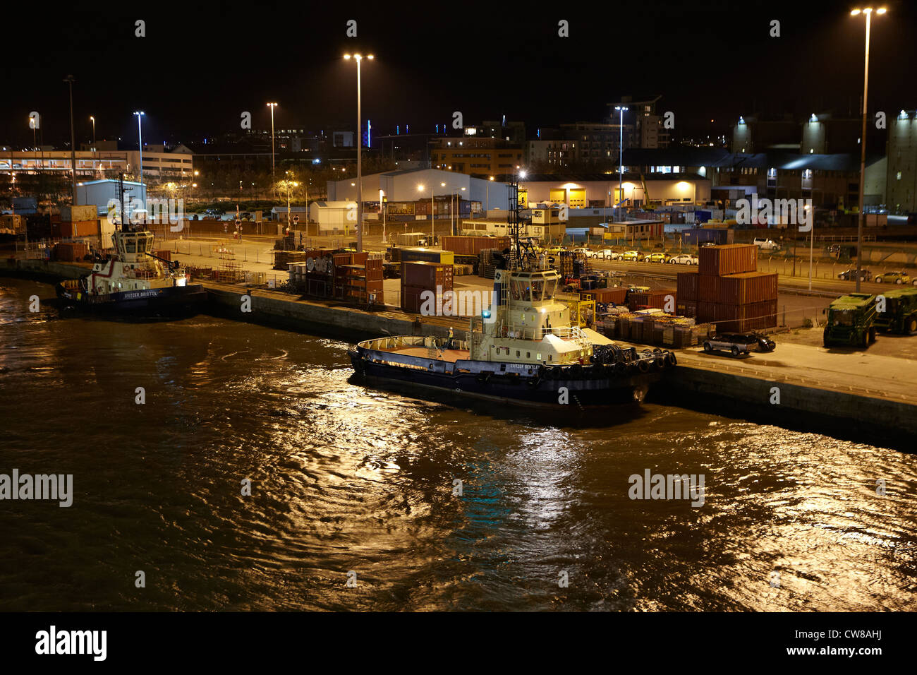 Svitzer Bentley Tug at Southampton at night - Stock Image