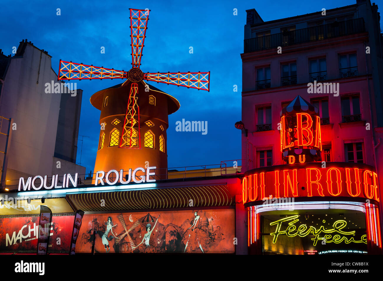 Moulin Rouge, French for Red Mill, is a cabaret in the Pigalle area of Paris, France - Stock Image