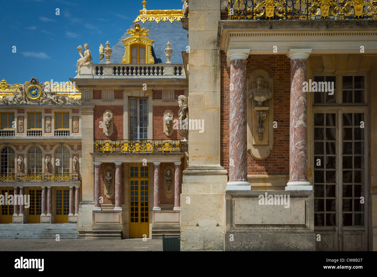 Architectural details at the Versailles royal palace outside Paris, France - Stock Image