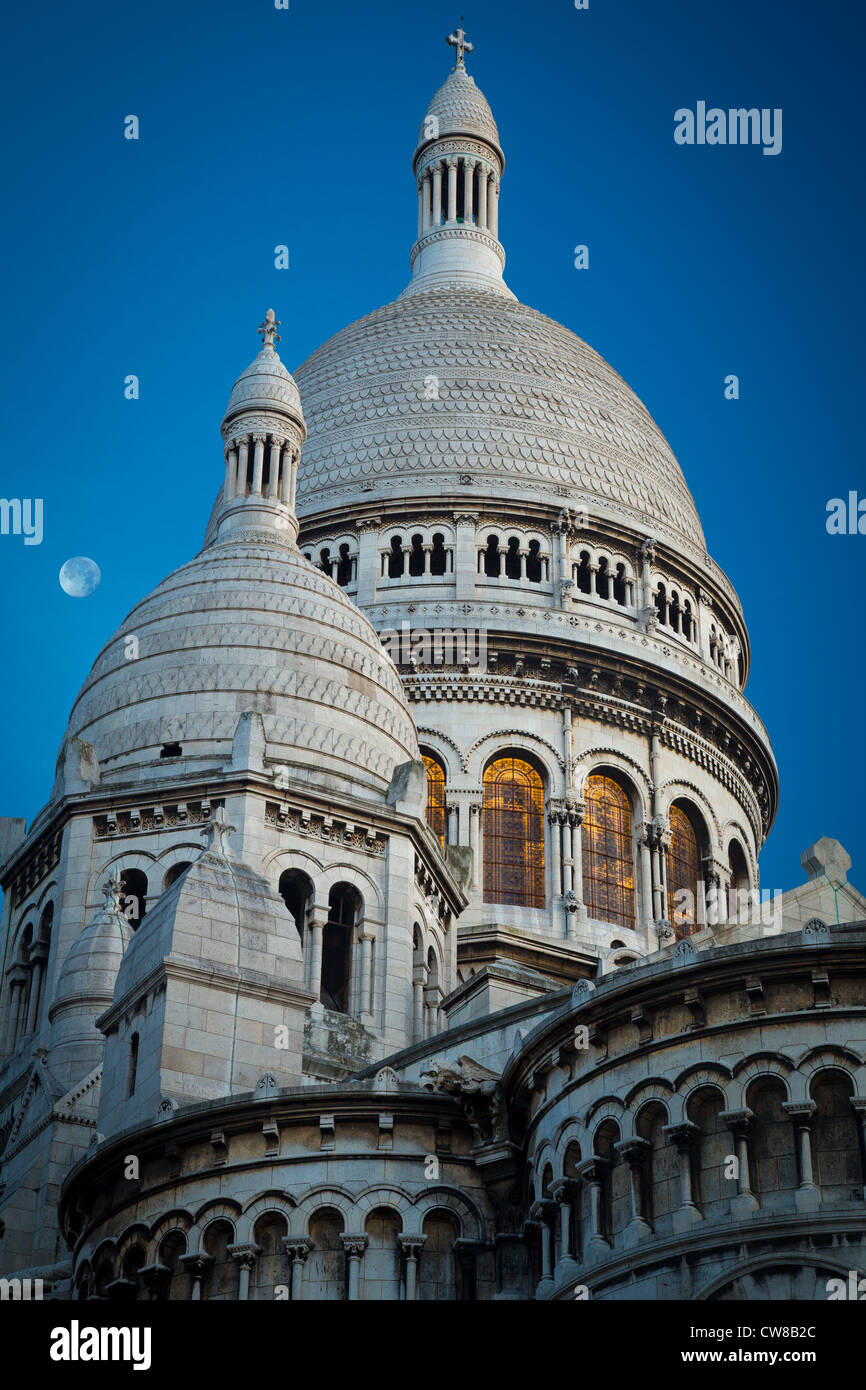 The Basilica of the Sacred Heart of Paris, commonly known as Sacré-Cœur Basilica, in Paris, France - Stock Image