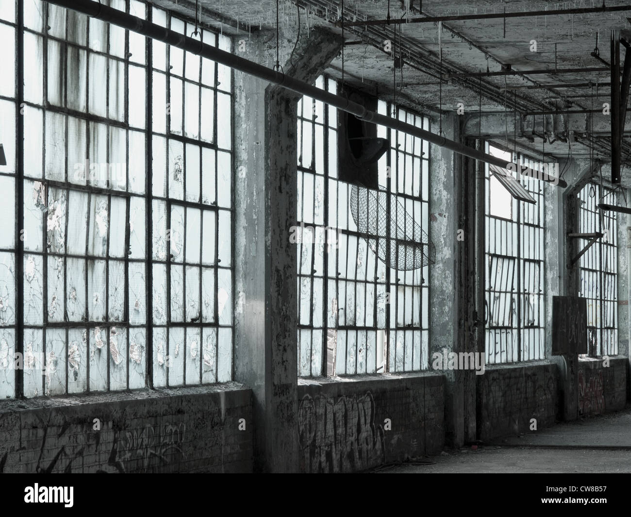 interior of an abandoned car factory in detroit michigan the windows stock photo 49971523 alamy. Black Bedroom Furniture Sets. Home Design Ideas
