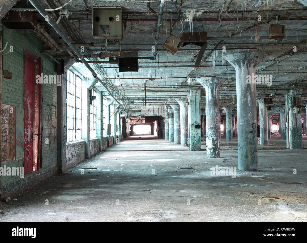 Interior of an abandoned car factory in Detroit Michigan. The ... for Abandoned Car Factory  58lpg