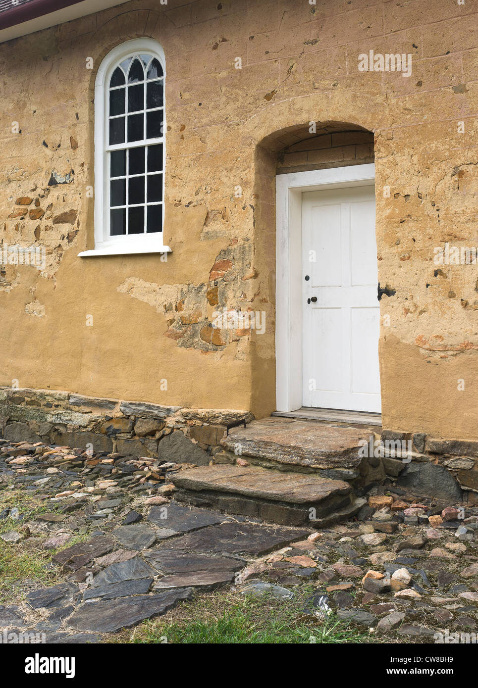 Gemeinhaus Moravian Historic Bethabara Park village old history historical parks State NC North Carolina front door - Stock Image