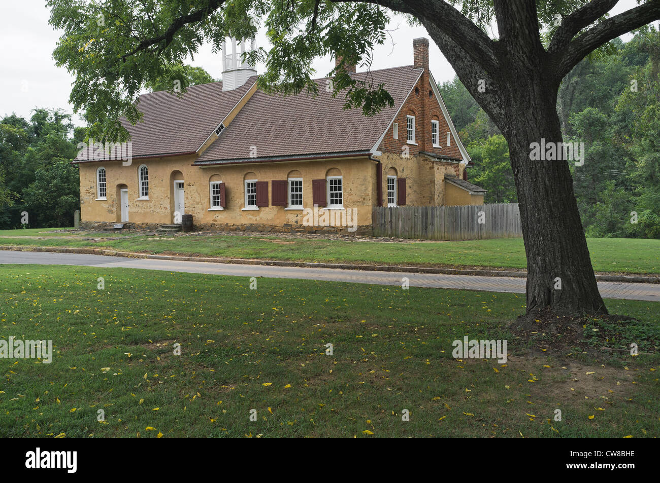 Gemeinhaus building 1788. German colonial church with attached minister's living quarters. Frederic Marshall - Stock Image