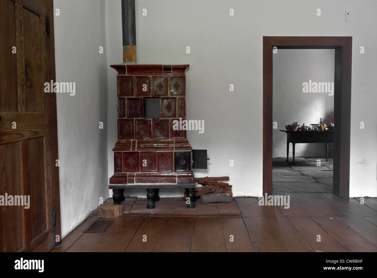 inside Gemeinhaus building 1788. German colonial church with attached minister's living quarters. Frederic Marshall - Stock Image
