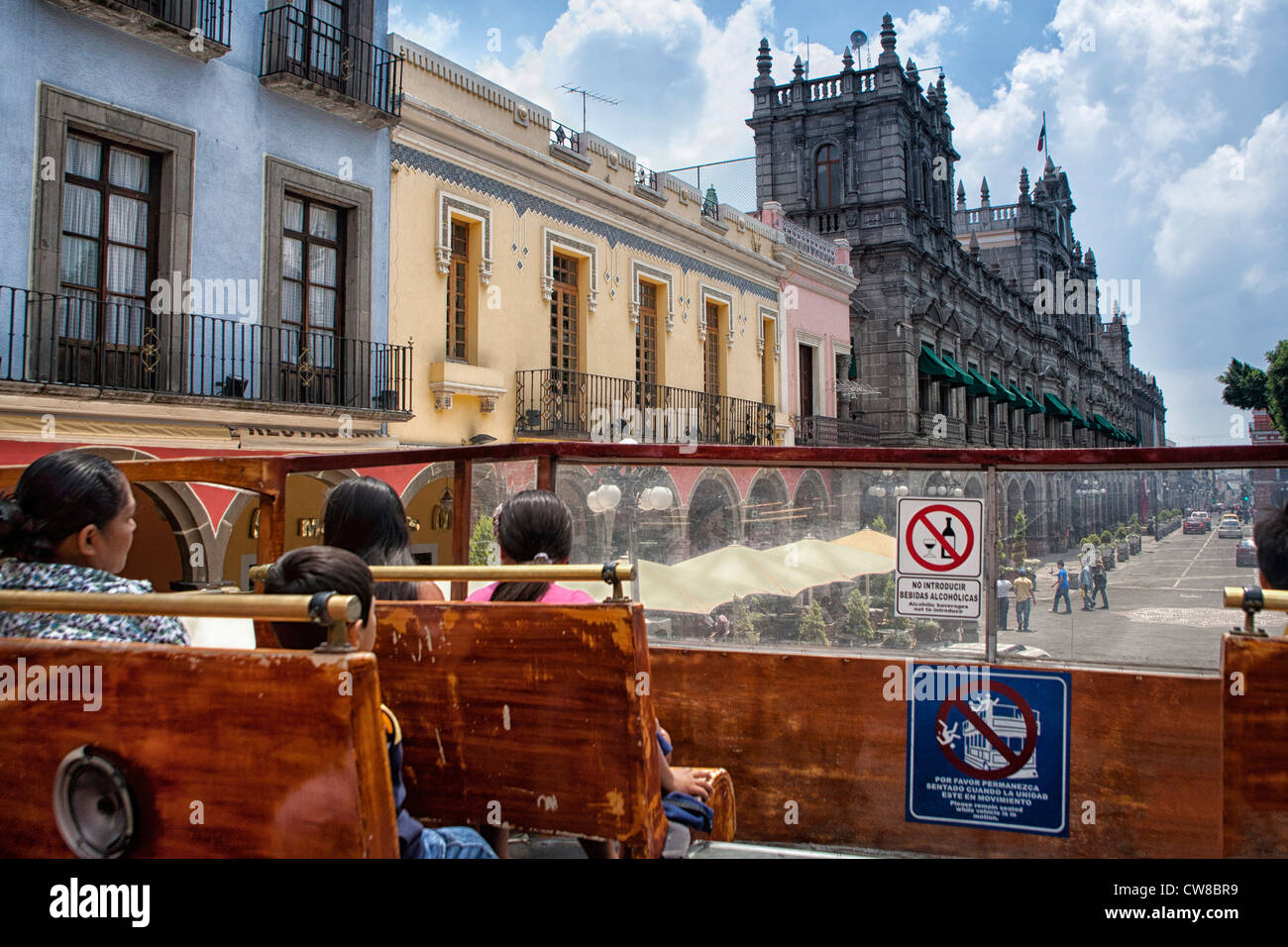 Tour Bus and Palacio de Gobierno, Puebla, Mexico Stock Photo