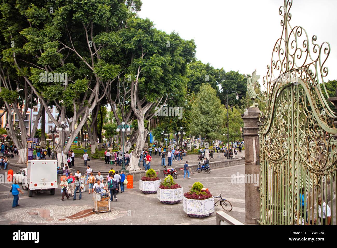 Zocalo in downtown Puebla, Mexico - Stock Image