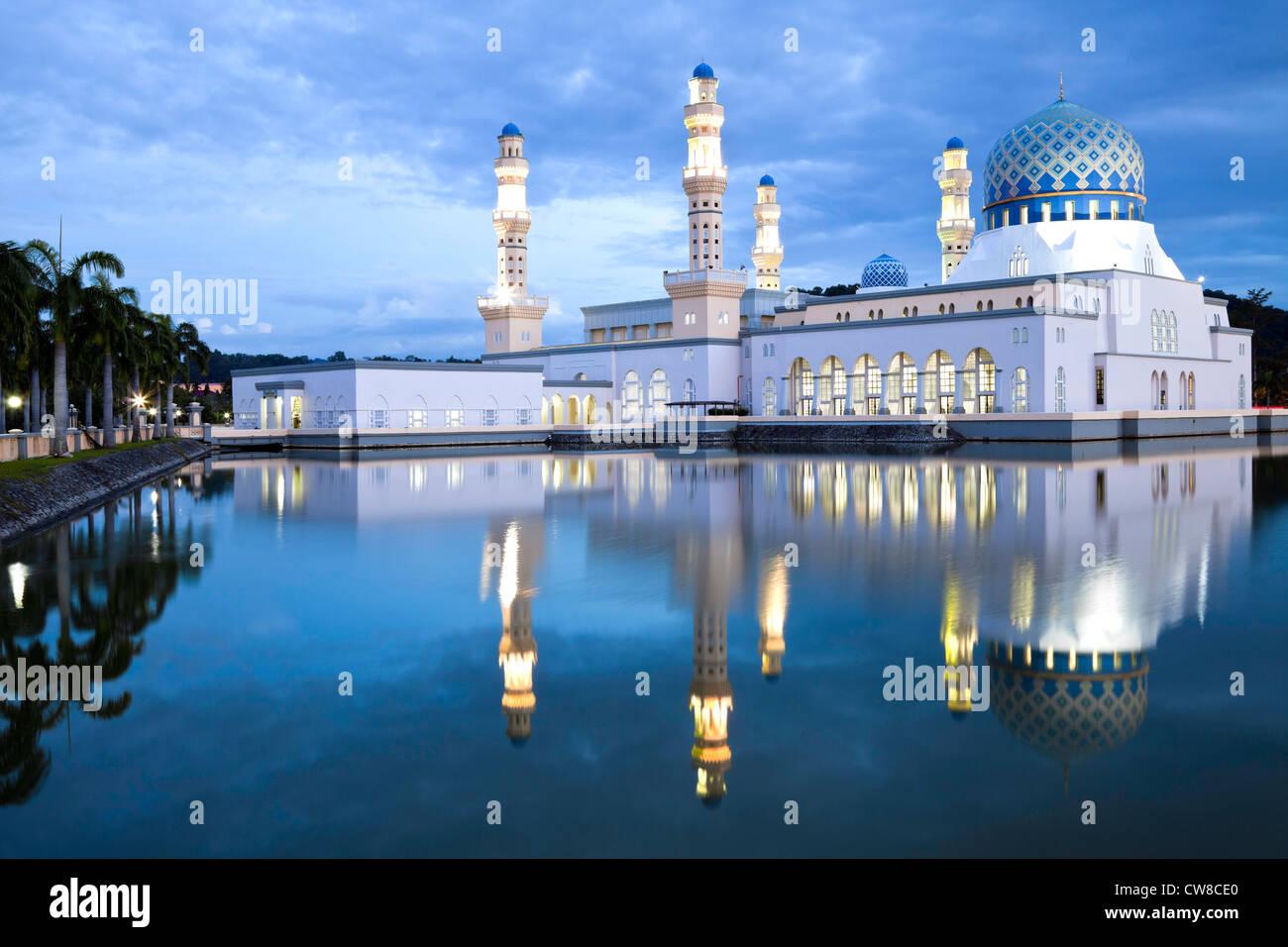 Kota Kinabalu City Mosque at dusk. - Stock Image