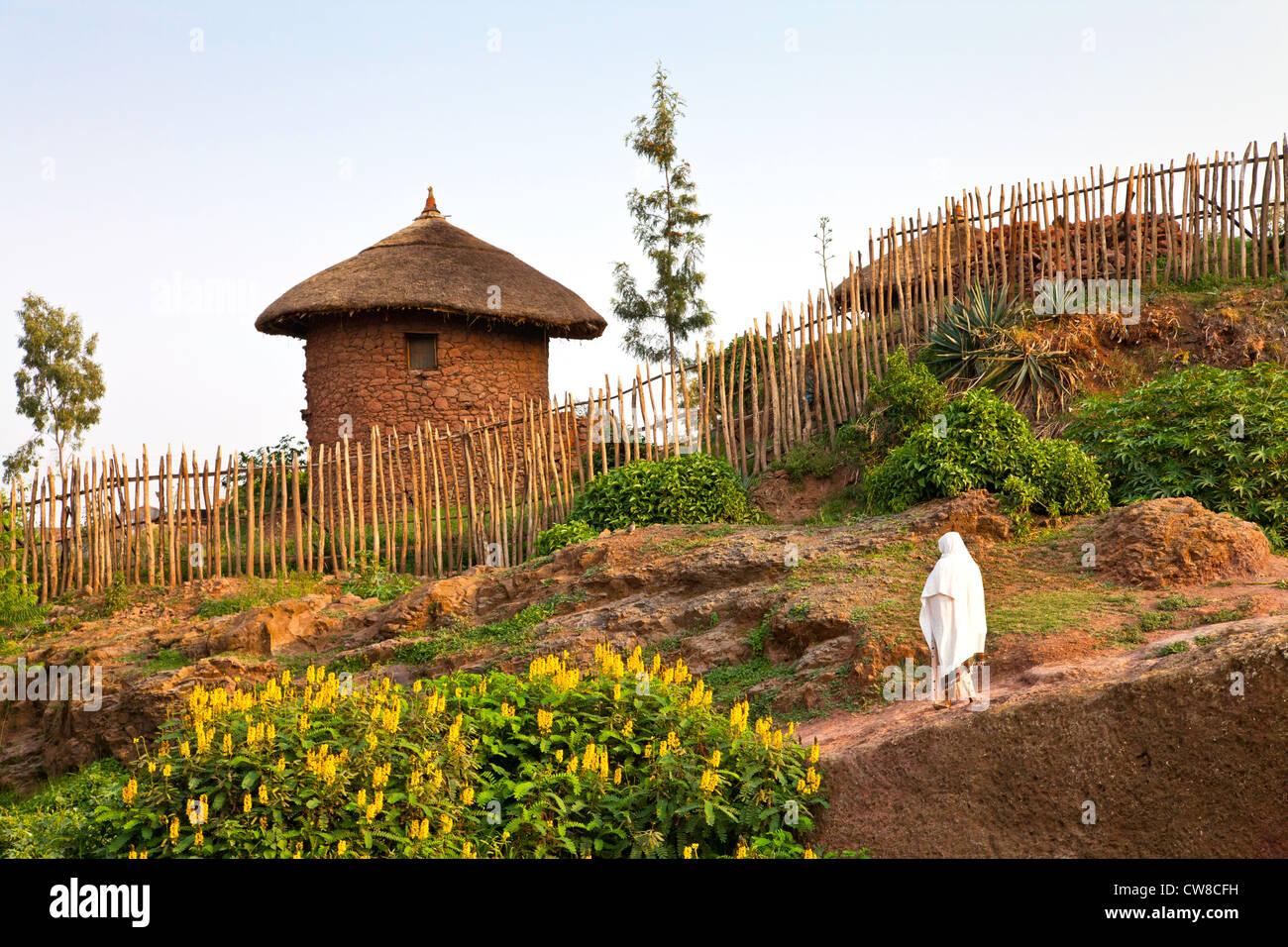 Traditional hut in Lalibela Ethiopia. - Stock Image