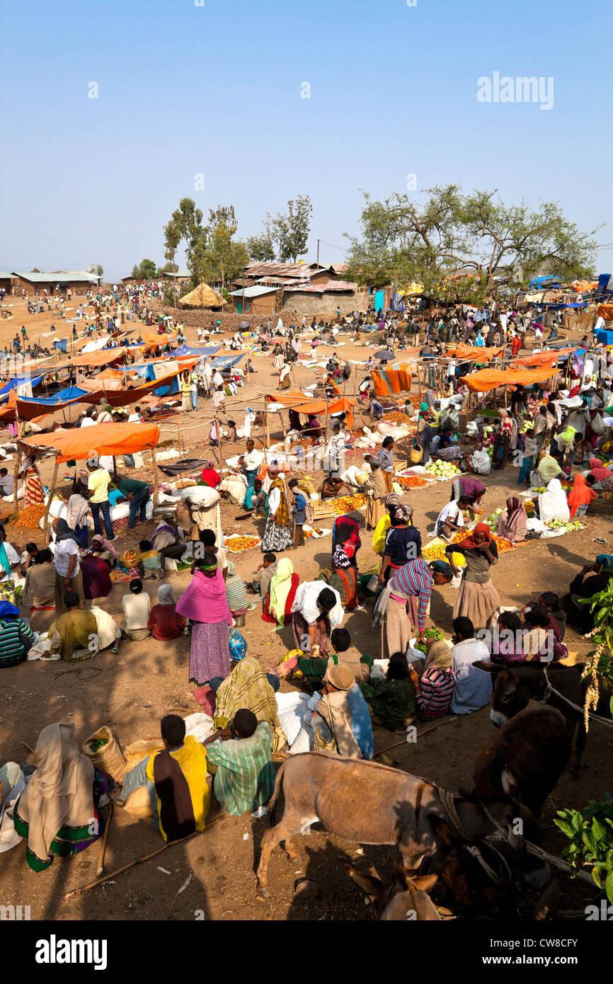 Sunday market in Lalibela Ethiopia. - Stock Image