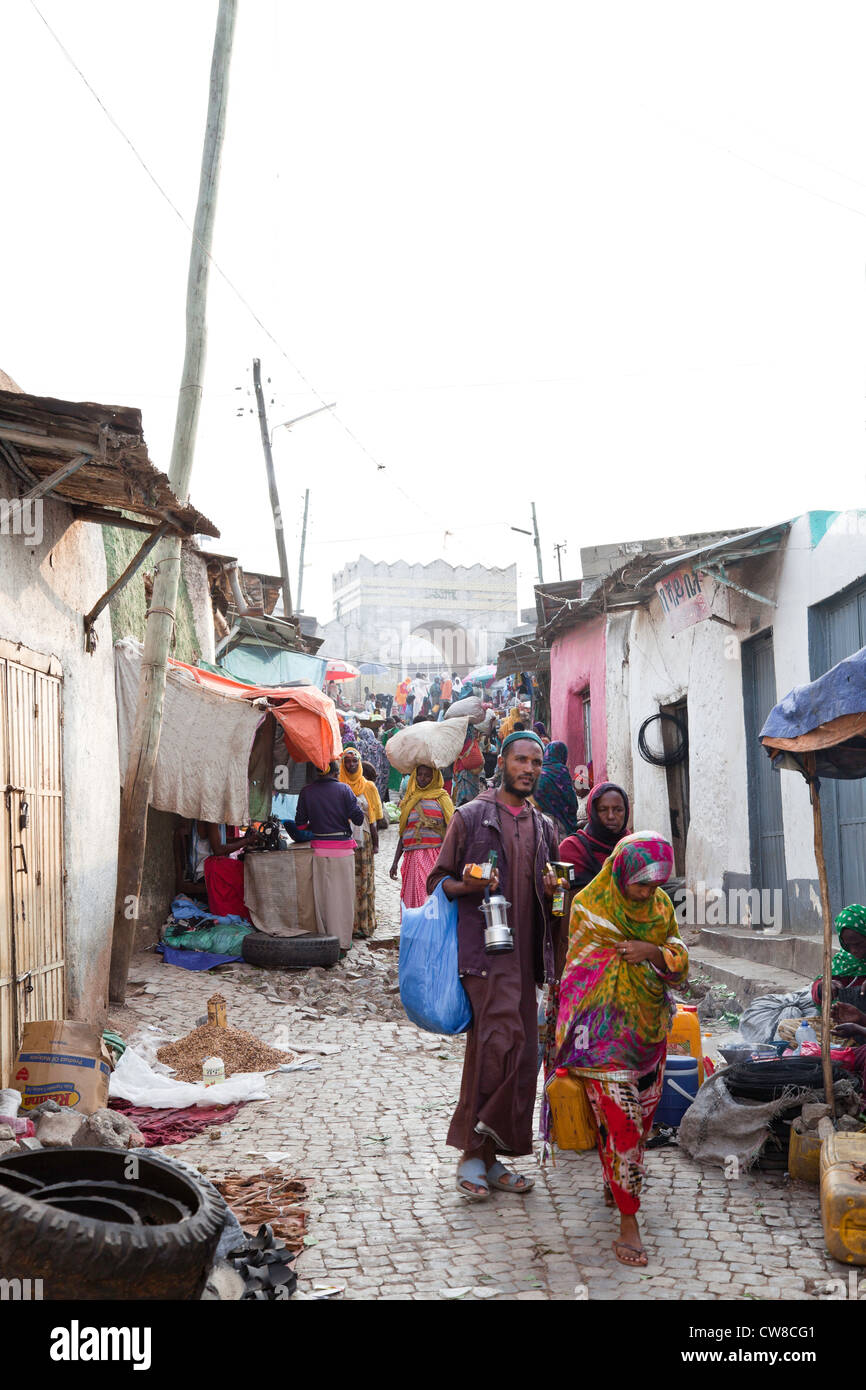 Alleyway with  Shoa Gate in the background Harar Ethiopia. - Stock Image