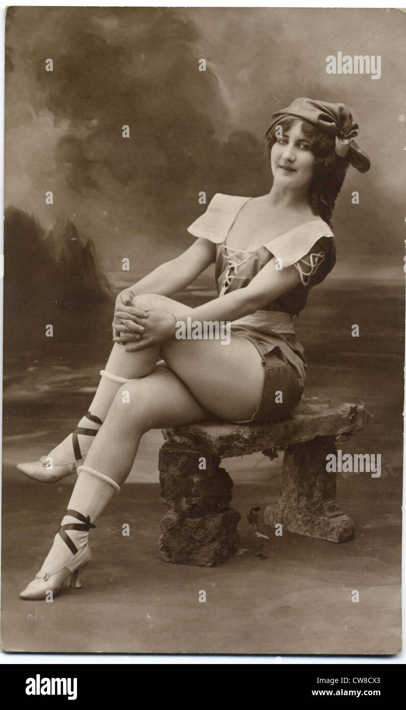 Postcard of a Bather - Stock Image