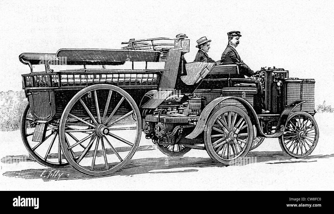 Steam-powered car by De Dion-Bouton, 1894 - Stock Image
