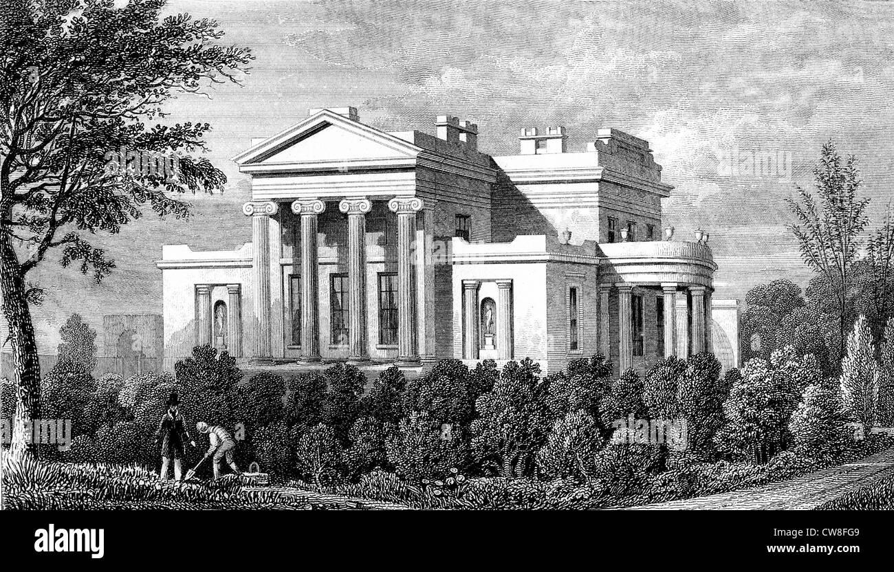 Villa in Regent's Park in London, 1827 - Stock Image