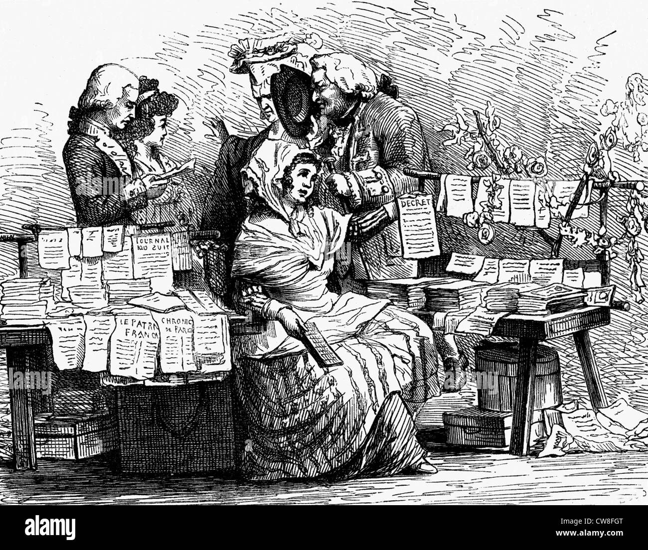 Woman in France selling newspaper for a living, 1791 - Stock Image