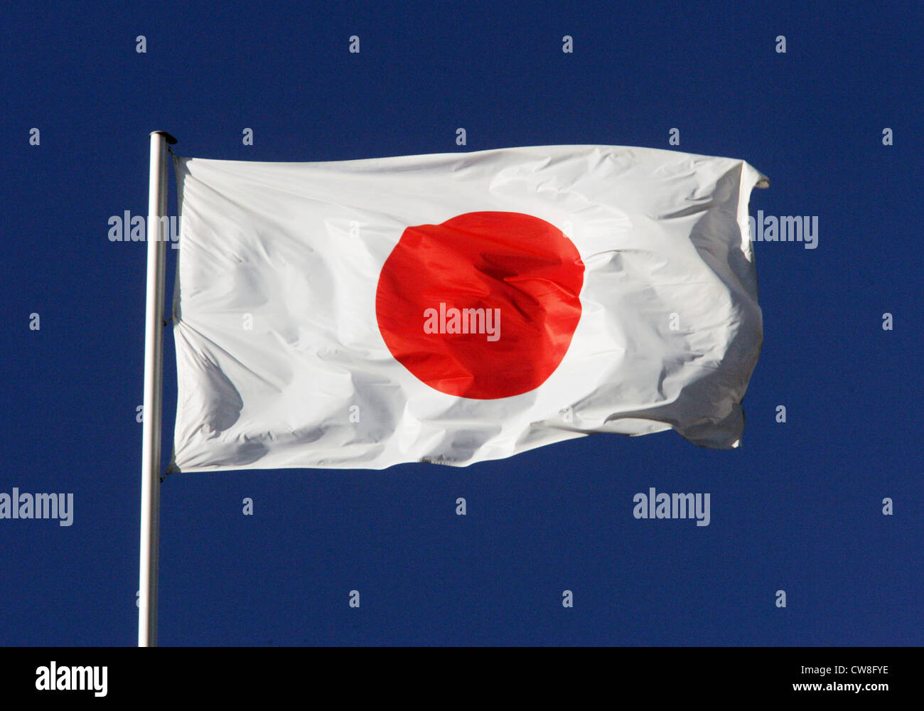 Symbol photo, National Flag of Japan in the wind Stock Photo