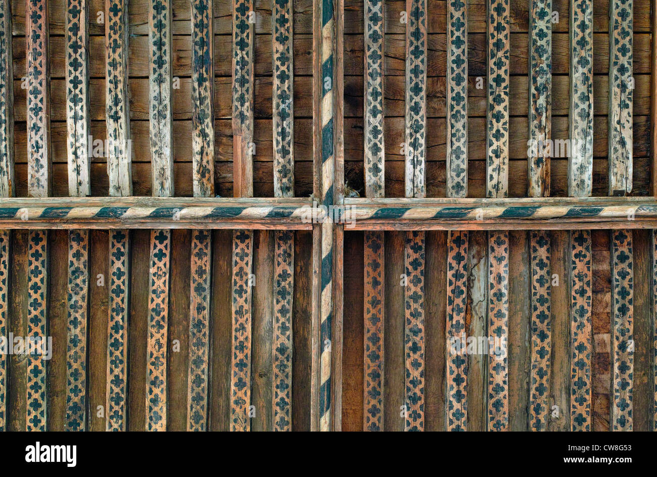 Roof beams in Thaxted parish church - Stock Image