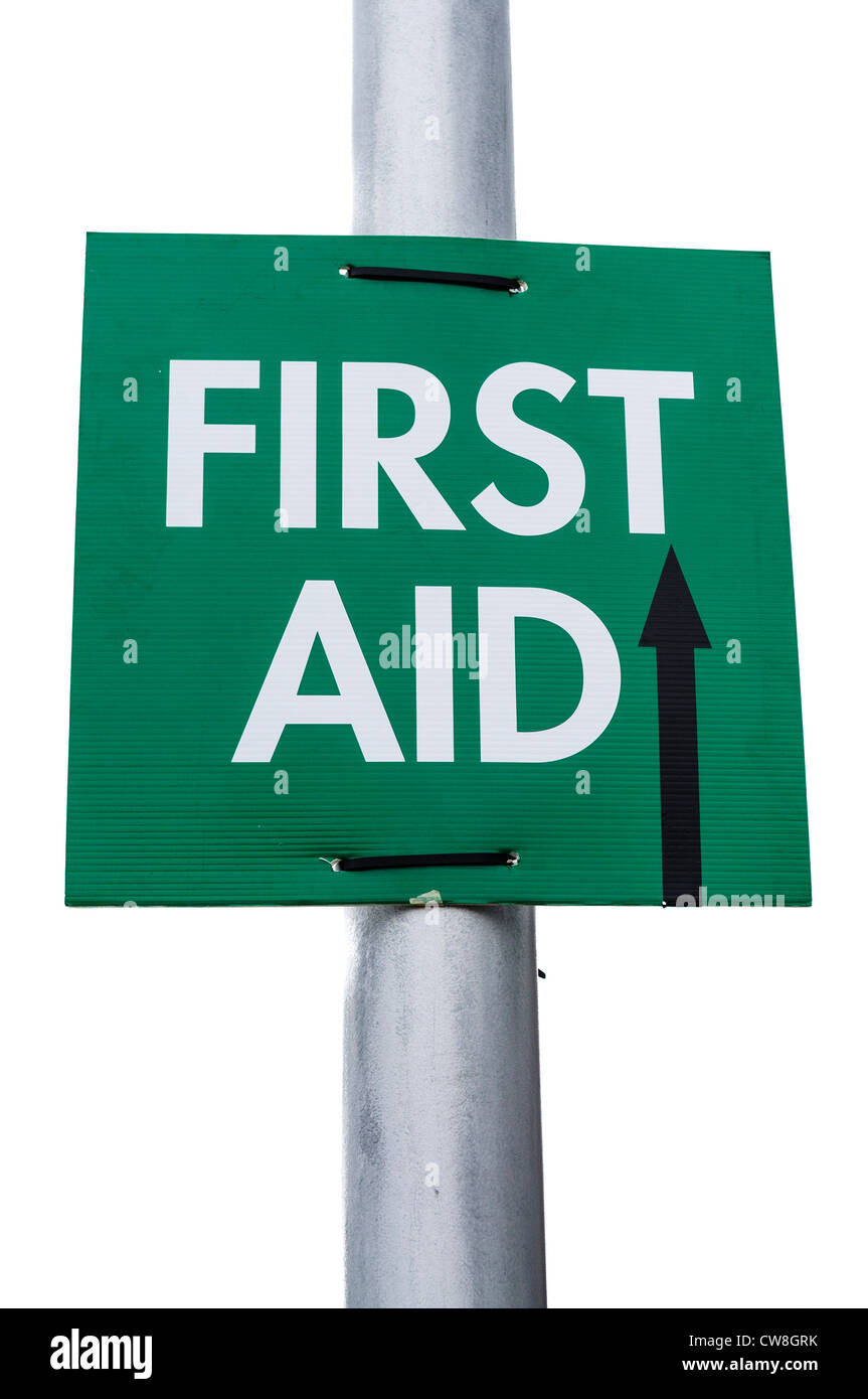 First aid sign on a lamppost (cutout) - Stock Image
