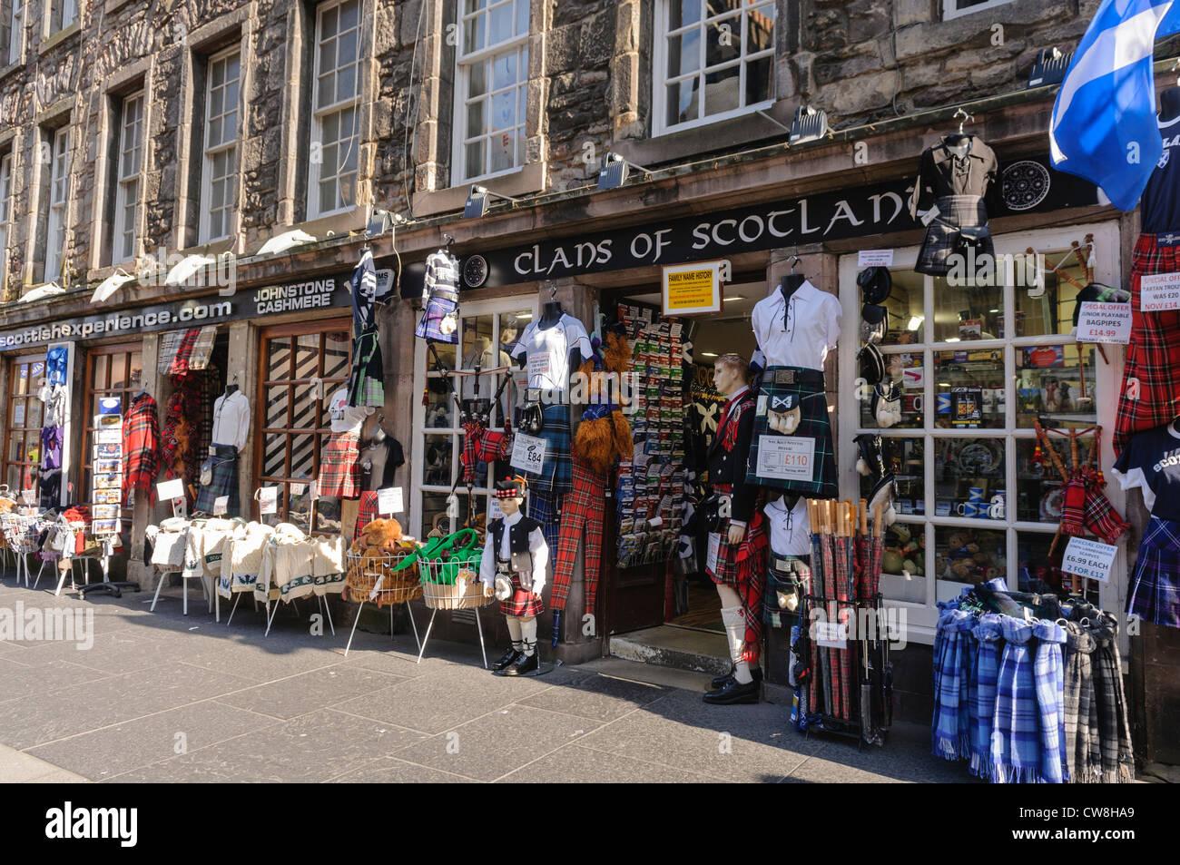 Scottish souvenir shop in Edinburgh, selling tartans, kilts