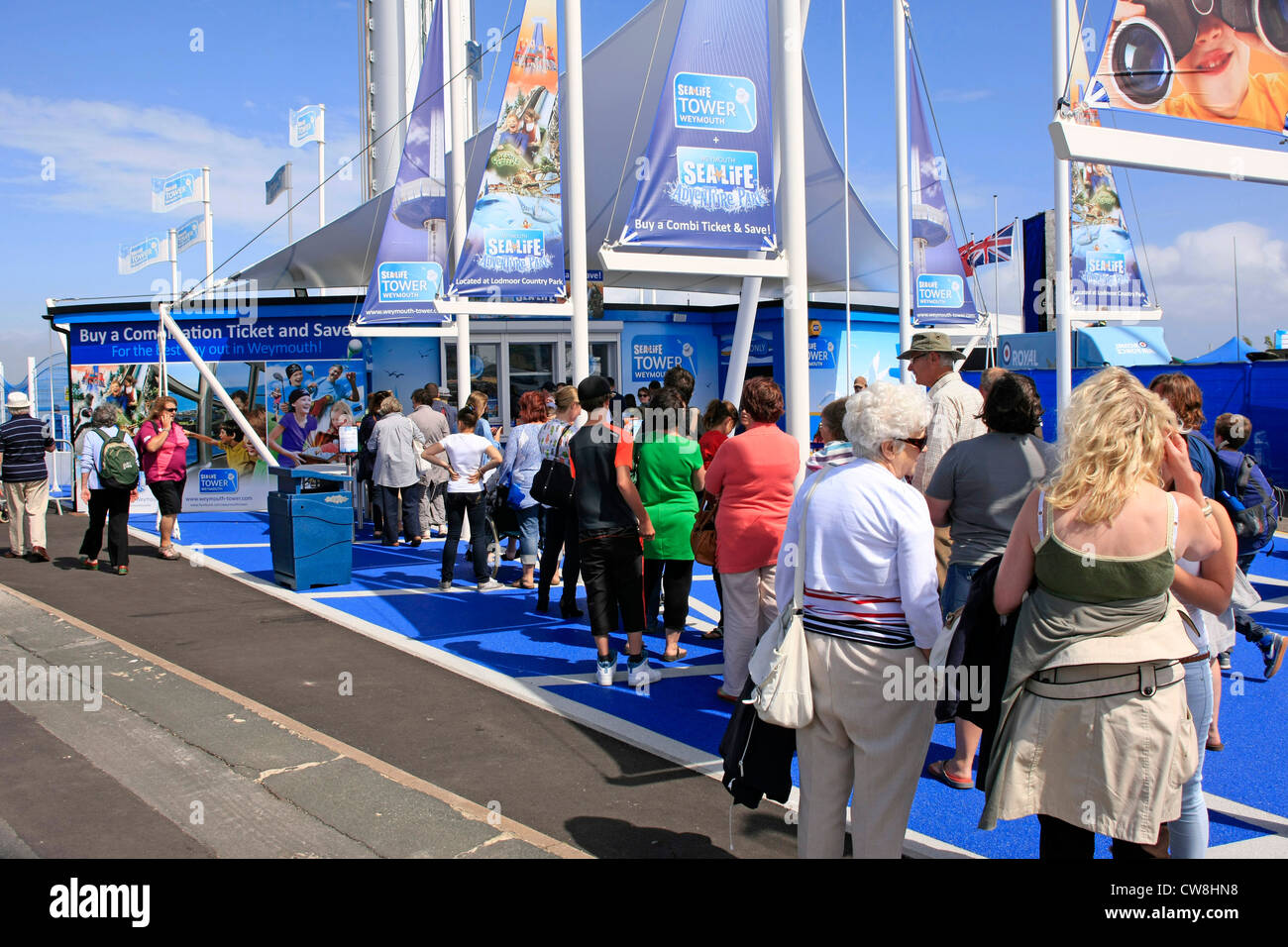 People outside the new Sealife Tower at Weymouth Dorset - Stock Image