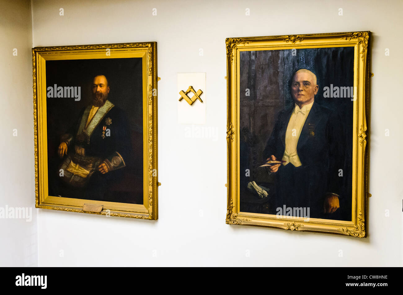 Paintings of past Worshipful Masters in a Masonic Lodge - Stock Image