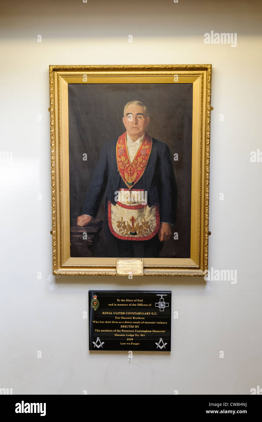 Painting of Renowned Brother Hugh M Jackson JP in a Masonic Lodge - Stock Image