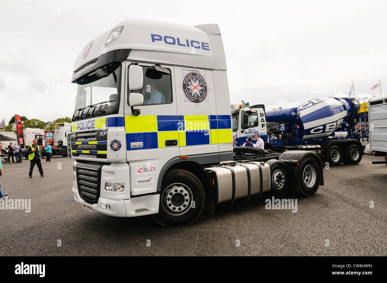 DAF XF lorry/truck with Police Service of Northern Ireland (PSNI) livery - Stock Image