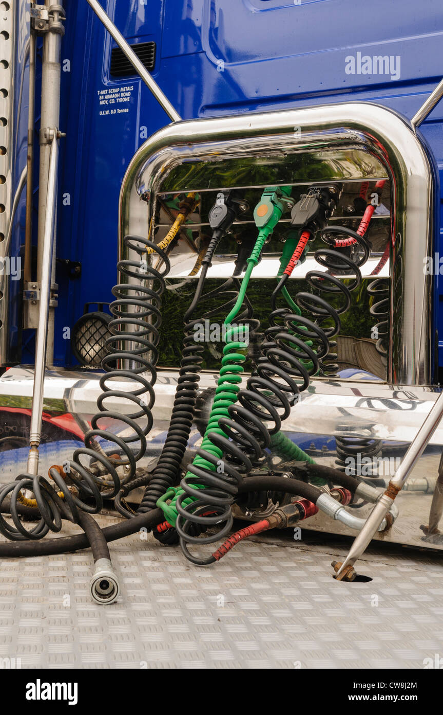 Pneumatic hoses on the back of a lorry/truck - Stock Image