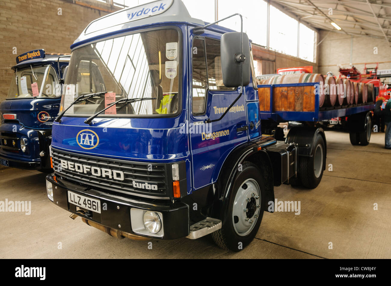 Classic Bedford flat bed lorry used to transport whiskey barrels from Bushmills Distillery - Stock Image