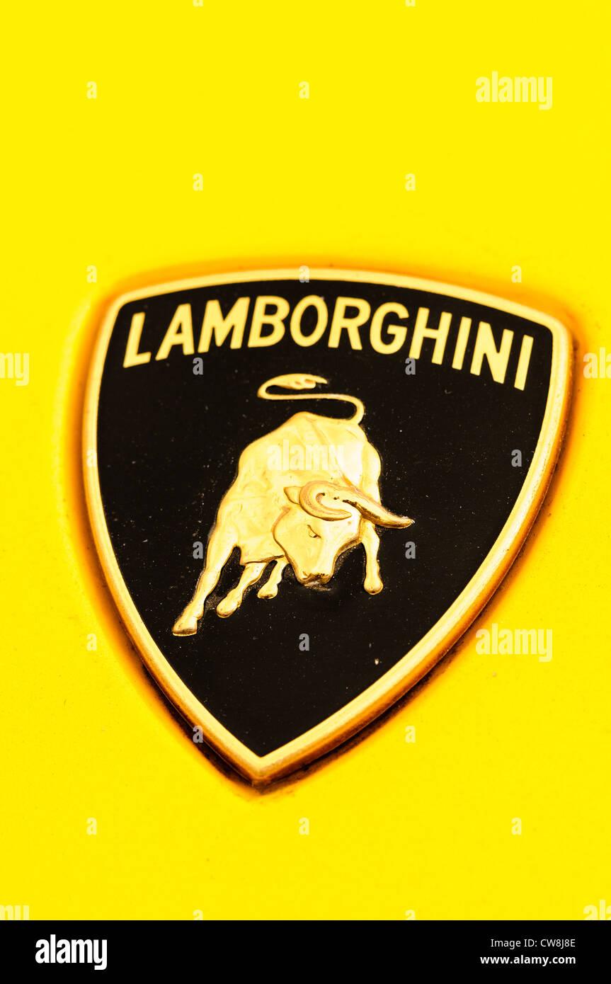 Badge on a yellow Lamborghini Murceilago - Stock Image