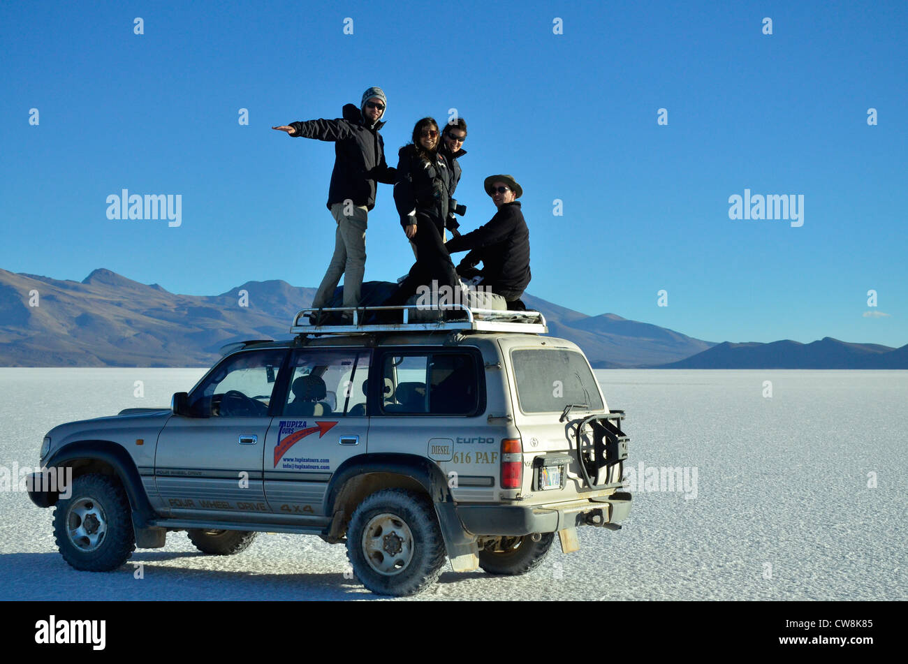 Uyuni Salaar, the biggest salt pan on earth. Andes Altiplano plateau of Bolivia. Altitude about 4000m. - Stock Image