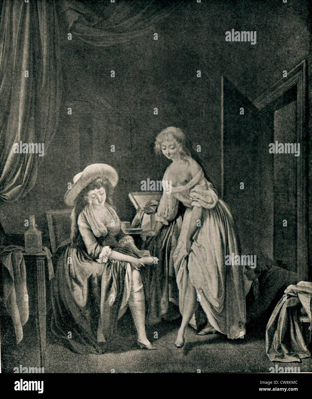 Engraving by Boilly (second set), genre scene - Stock Image