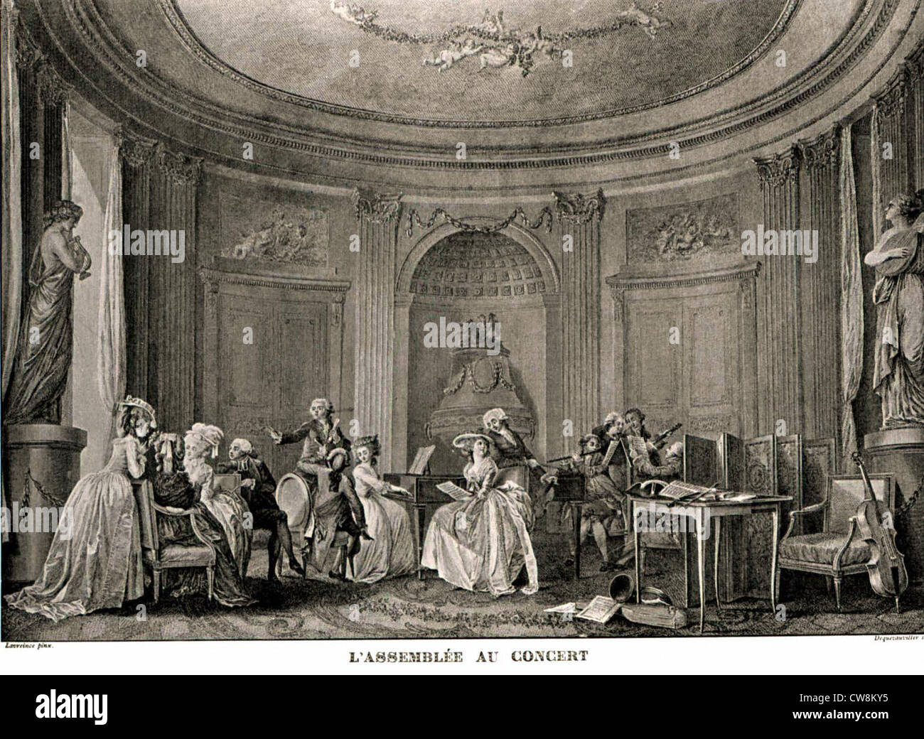 Engraving by Dequevauviller from Lavreince, genre scene - Stock Image