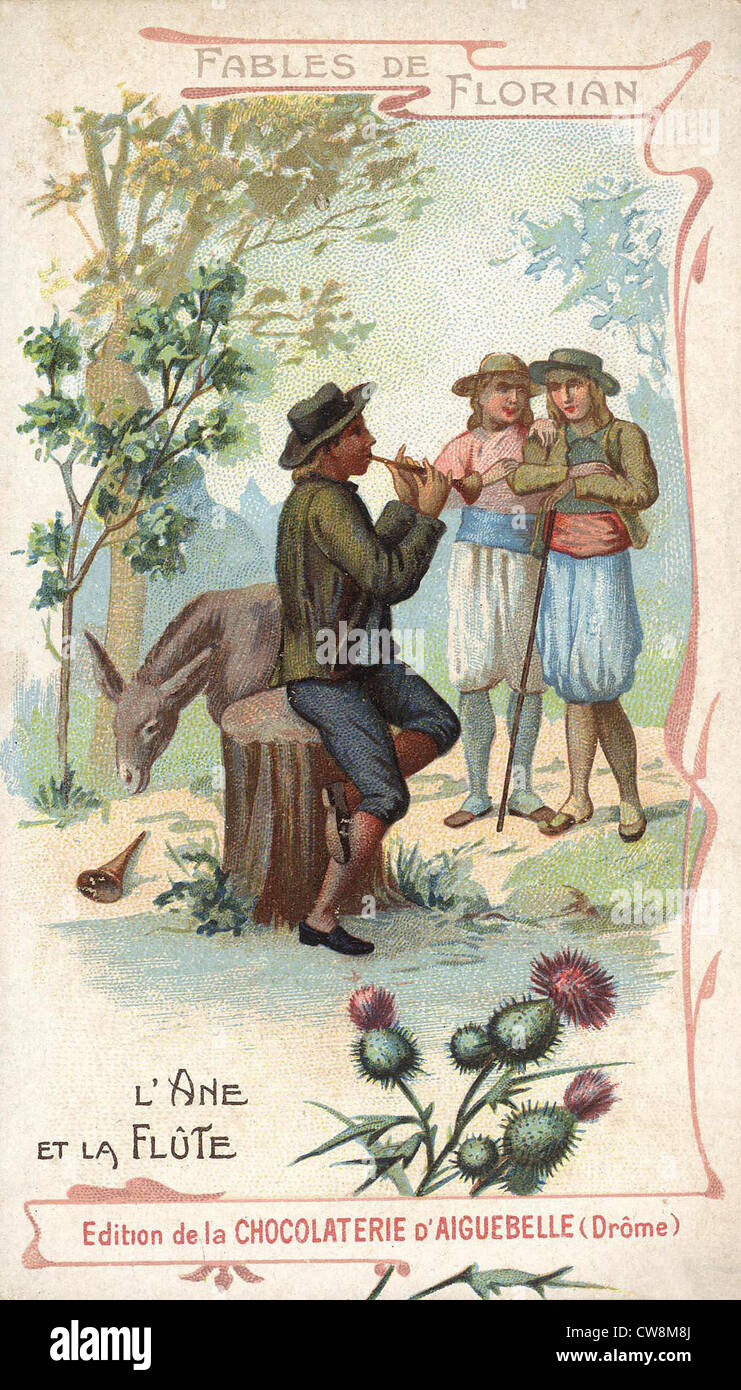 Fable by Florian, The Donkey and the Flute - Stock Image
