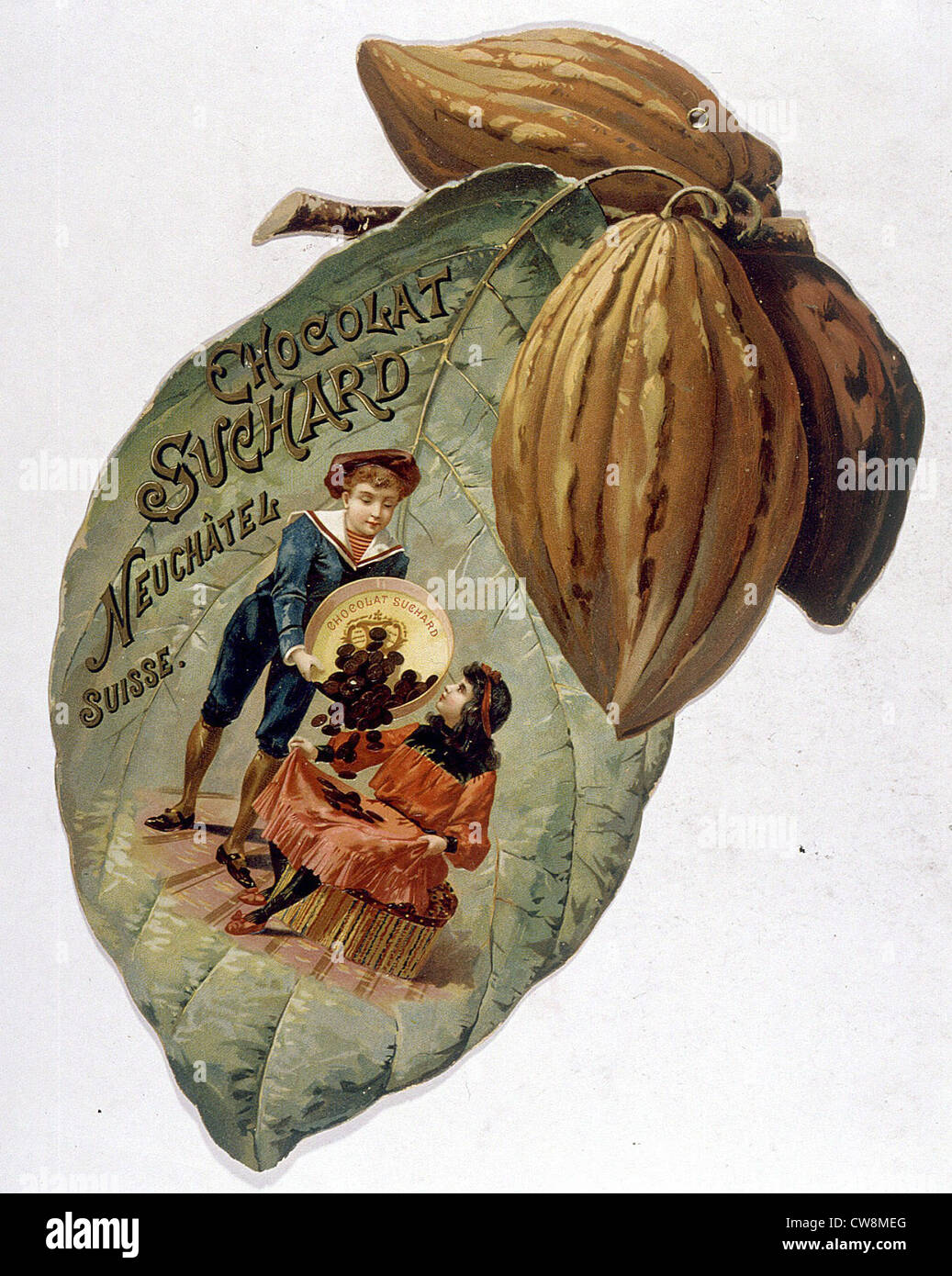 Suchard Chocolate, 19th century advertisement - Stock Image