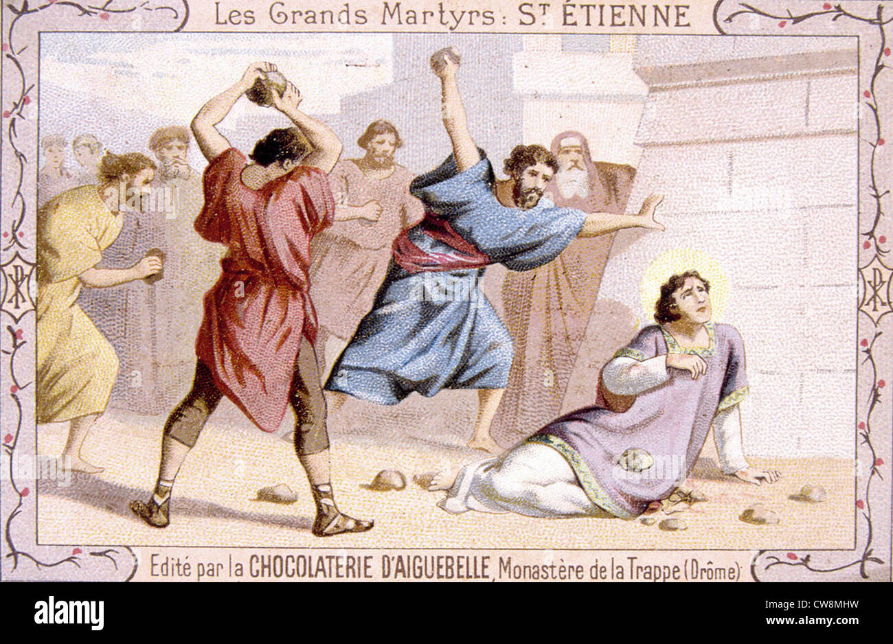 The martyr Saint Steven, advertisement - Stock Image