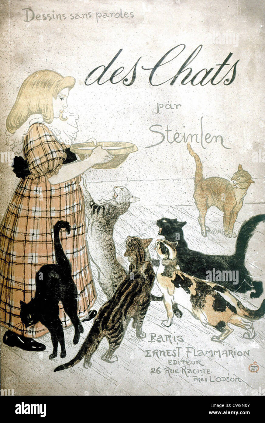 Cats, Images without words by Steinlen - Stock Image