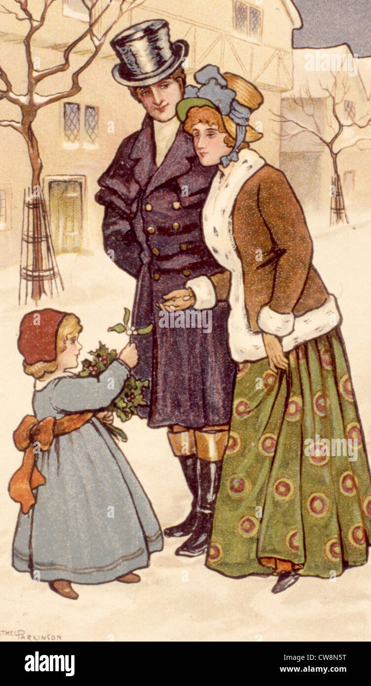 Greeting cards from the early 20th century, illustrations - Stock Image