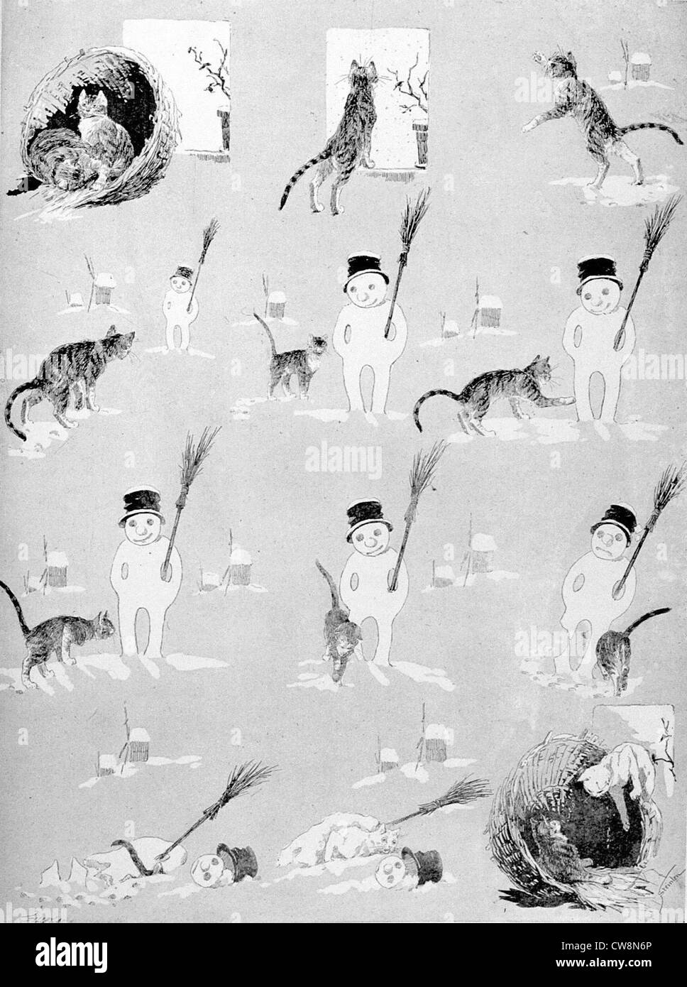 Cats, how a Little Black Cat Becomes a Pretty White Cat by Steinlen - Stock Image