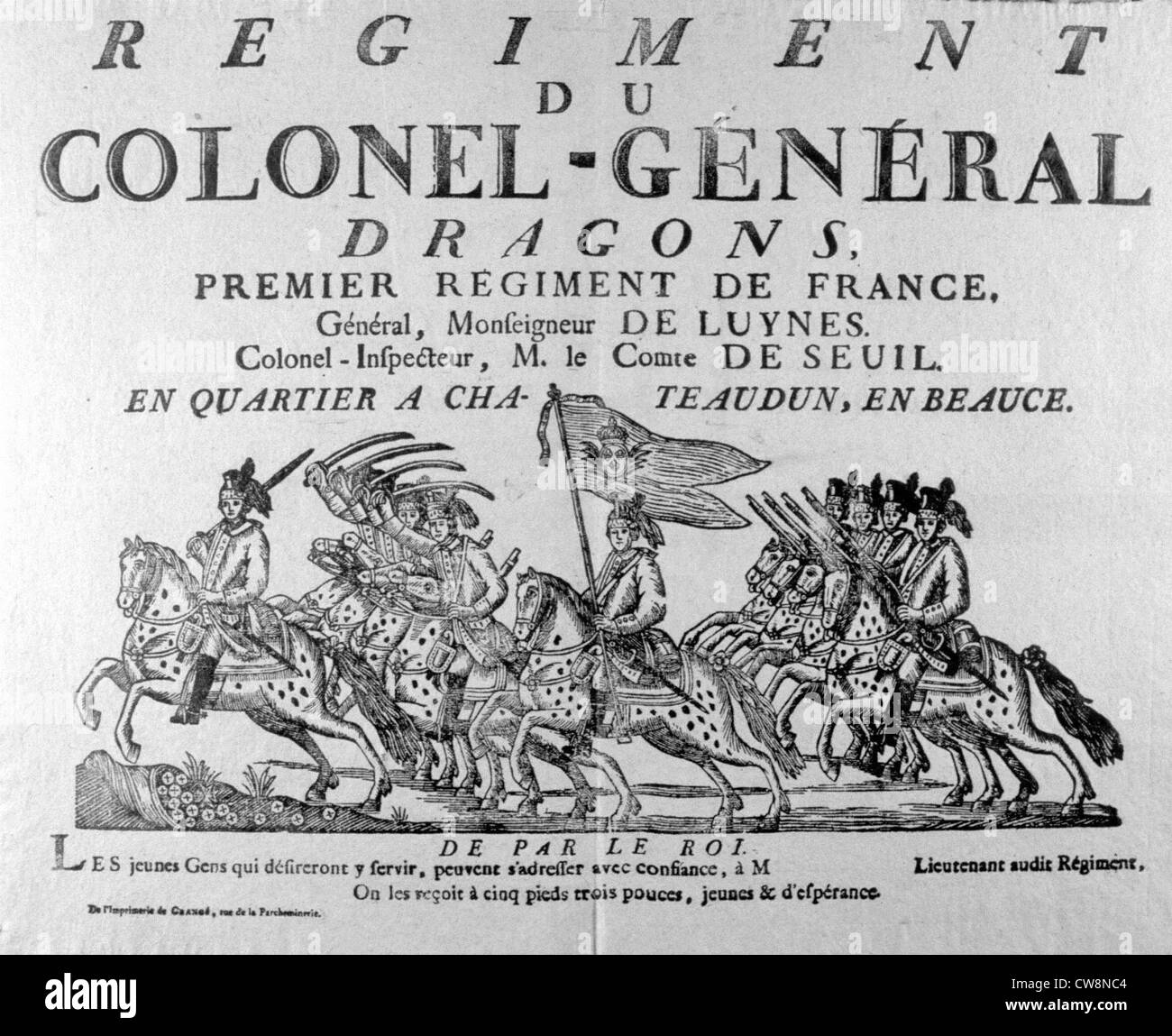 Army, advertisement from the 17th century for enrollment in a regiment - Stock Image