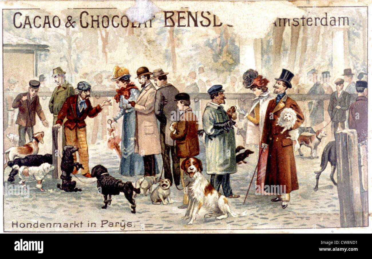 Paris dog market in the late 19th century, illustrations - Stock Image
