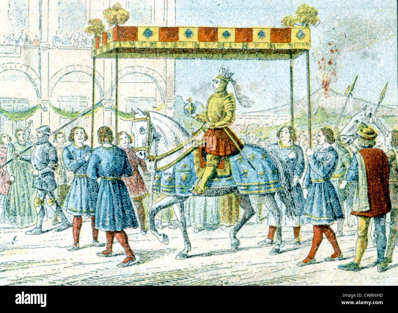 Charles VIII, King of France, illustrations Stock Photo
