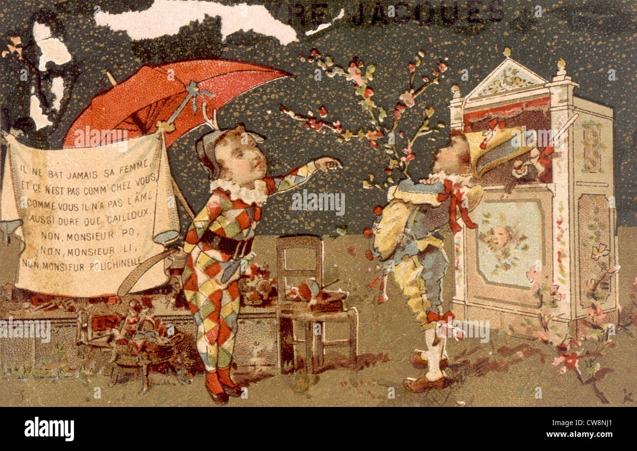 Guignol and Polichinelle, illustrations - Stock Image