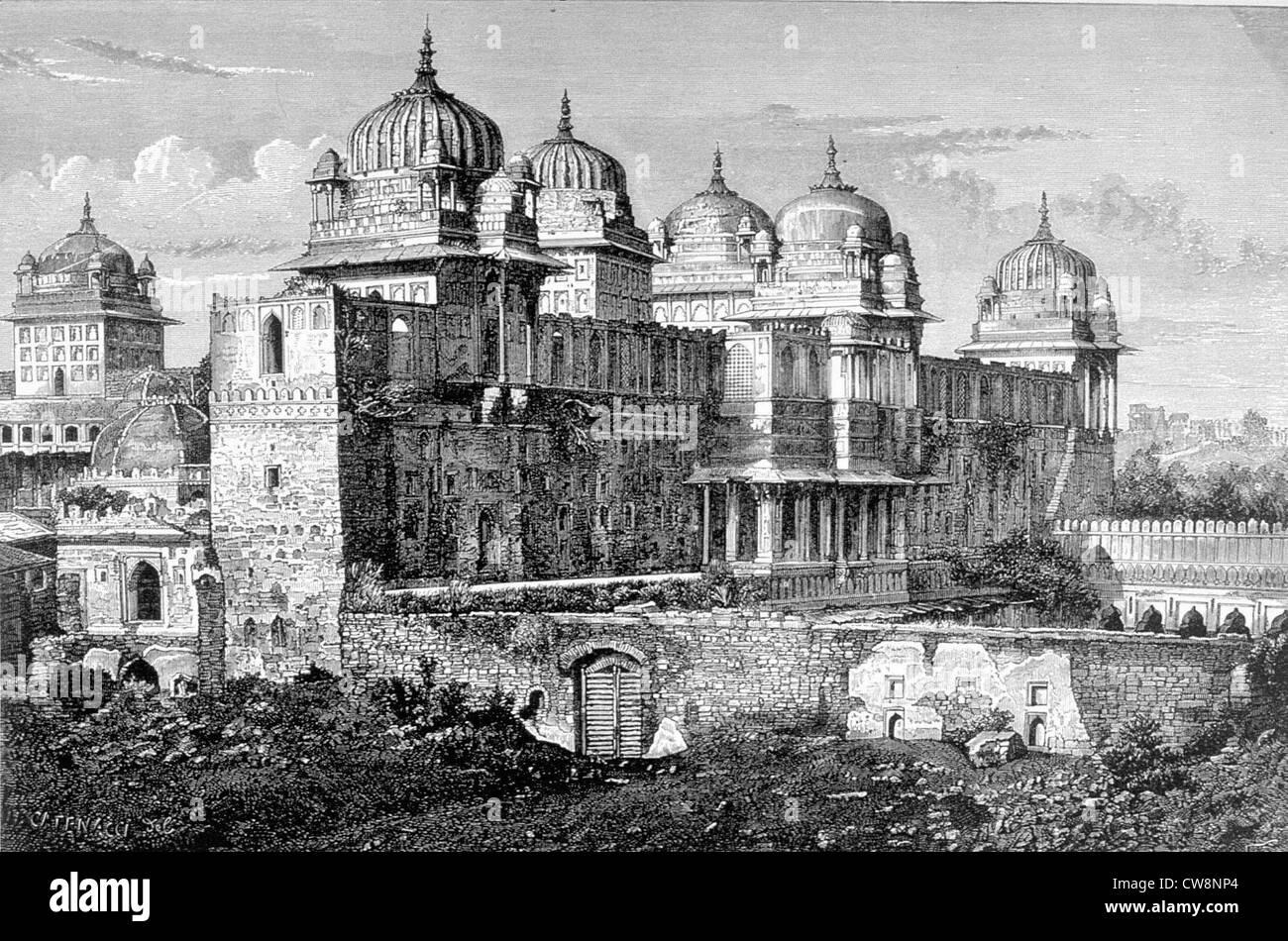 Raj Mahal (Royal Palace ) in Ourtcha - Stock Image
