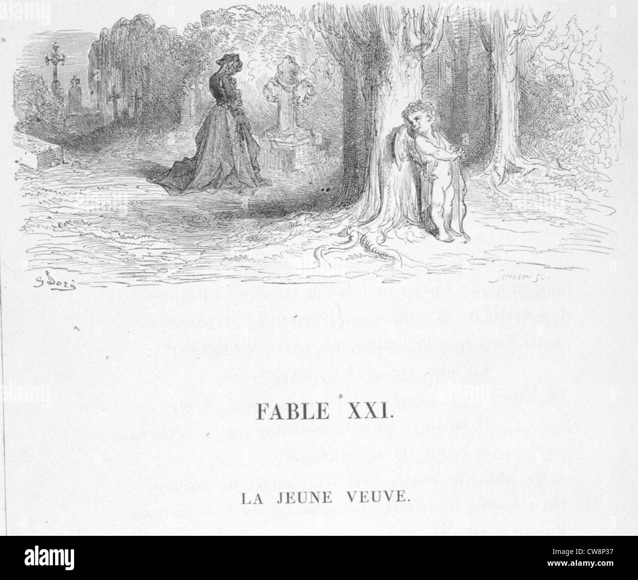 The Young Widow, La Fontaine's Fable, illustration by Gustave Doré - Stock Image