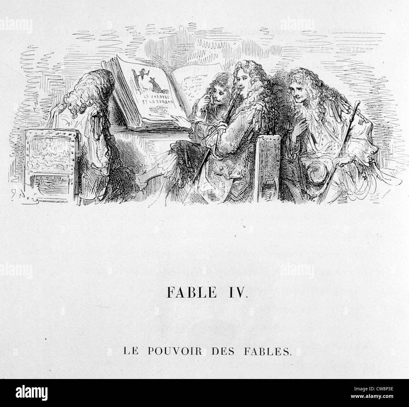 La Fontaine's Fable, illustration by Gustave Doré - Stock Image
