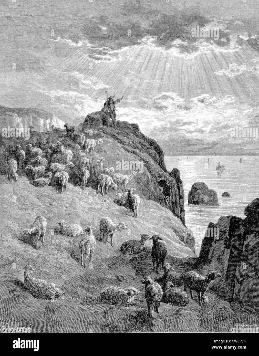 The Shepard and the Sea, La Fontaine's Fable, illustration by Gustave Doré - Stock Image