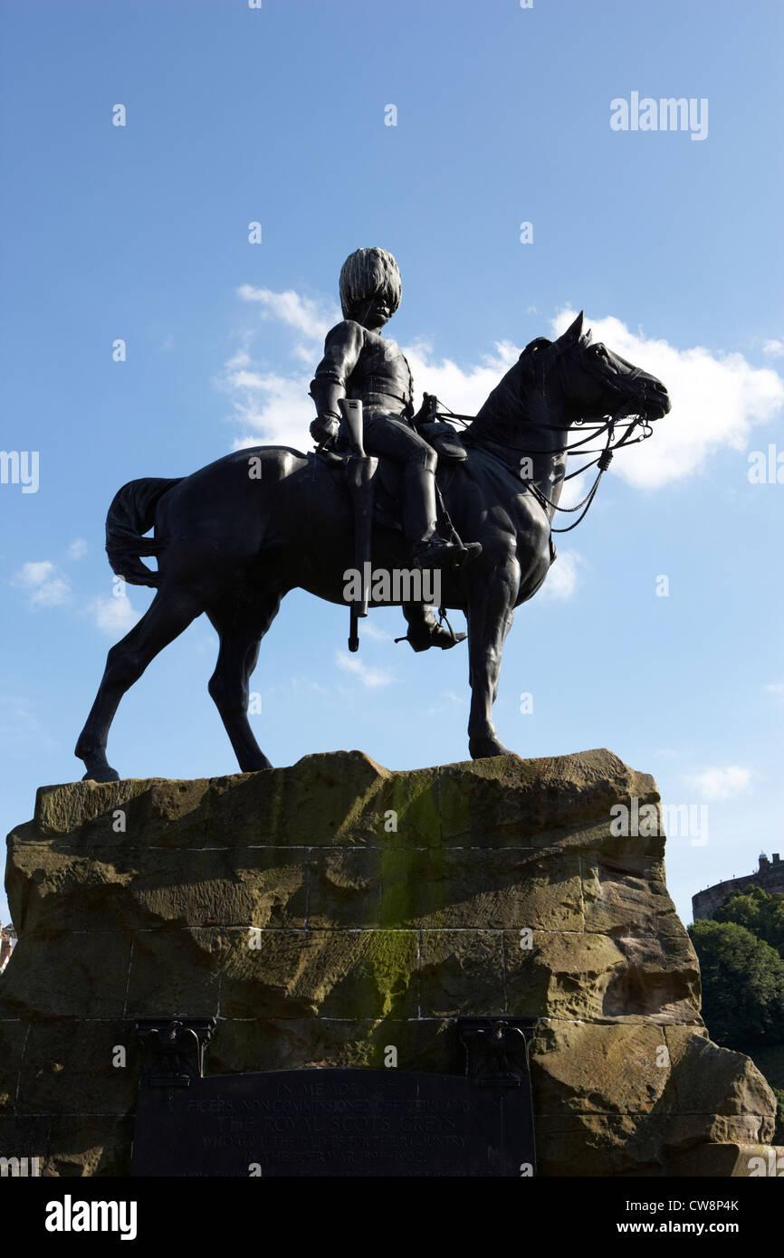 royal scots greys boer war monument in princes street gardens edinburgh scotland uk united kingdom - Stock Image